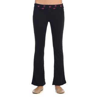 Women's Black Lip Print Fold-over Yoga Pants