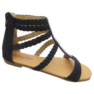 Yokids Girls 'Rihanna K' Black Braided-strap Sandals