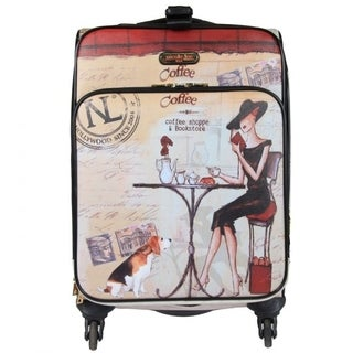 Nicole Lee Coffee Print 21-inch Expandable Rolling Carry-on Laptop Upright Suitcase