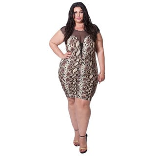 Sealed With a Kiss Women's Plus 'Roxanne' Plunge Dress in Snake