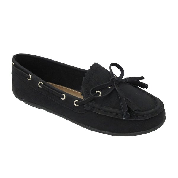 Yokids Girls 'Abbie K' Black Loafer Flats