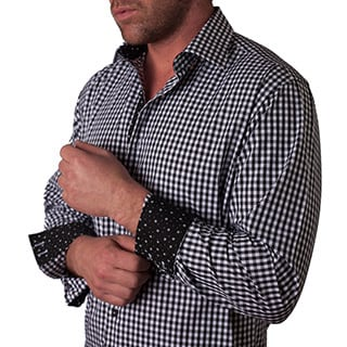 Men's 'Gallucio' Black Gingham Button-front Shirt