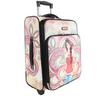 Nicole Lee Marina Print 21-inch Expandable Rolling Carry-on Laptop Upright Suitcase