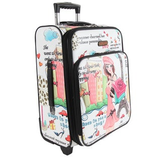 Nicole Lee Shopping Girl Print 21-inch Expandable Rolling Carry-on Laptop Upright Suitcase