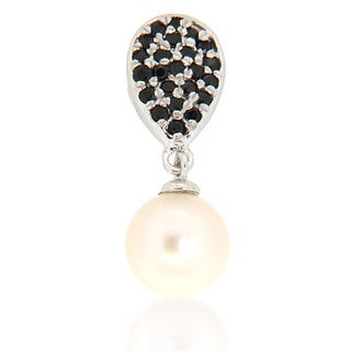 Pearlz Ocean White Freshwater Pearl and Black Spinel Drop Pendant Necklace