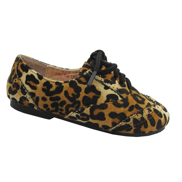 Yokids Girls 'Katty T' Leopard Print Lace-up Shoes