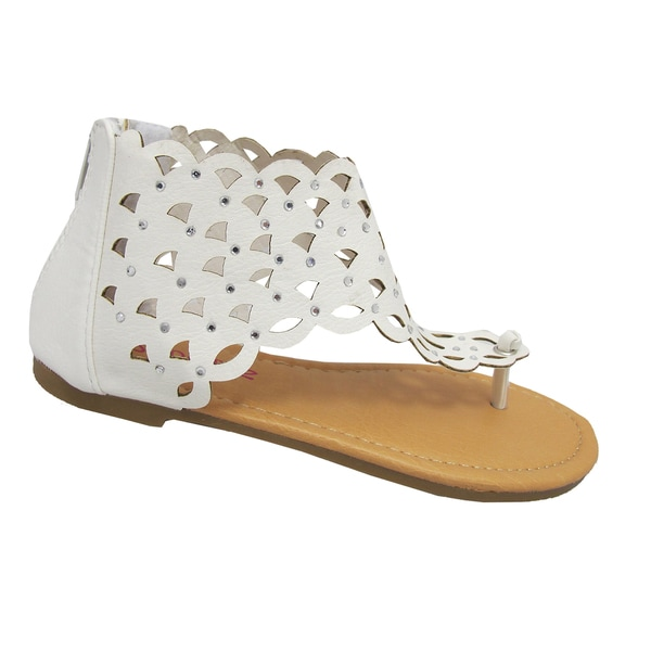 Yokids Girls 'Karylle 82K' White Laser-cut Sandals