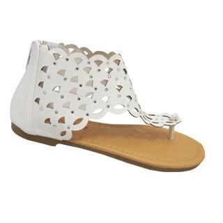 Yokids Girls 'Karylle 82K' White Laser-cut Sandals