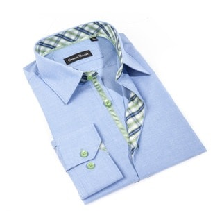 Men's 'Manza Bergamo' Light Blue Button-front Shirt