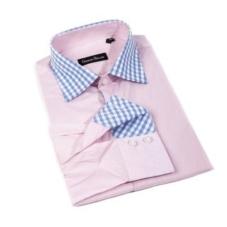 Men's 'Bella Luna' Pink Cotton Button-front Shirt