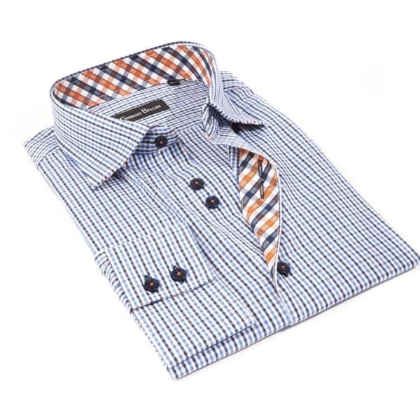 Men's 'Manchester' Blue Striped Cotton Button-front Shirt