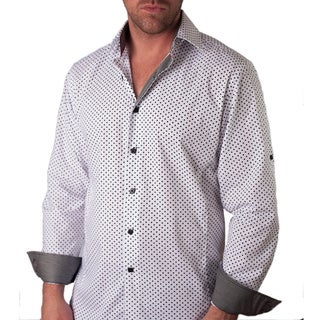 Men's 'Andriano' White Swiss Dots Button-front Shirt