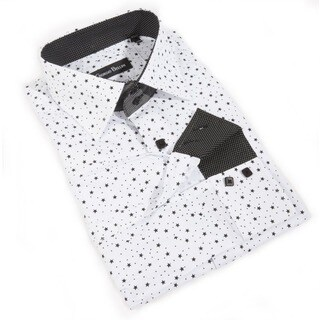Men's 'Milano Stardust' White Cotton Button-front Shirt