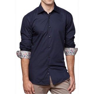 Men's 'Sorrentino' Black Cotton Button-front Shirt