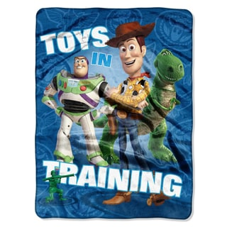 Toy Story 'Toys in Training' Blue Plush Throw Blanket