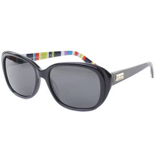 Kate Spade Women's 'Hilde X70P' Black Striped Polarized Fashion Sunglasses
