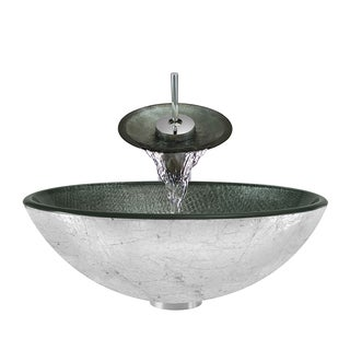 Polaris Sinks Silver Mesh/ Chrome Glass Vessel Sink and Faucet