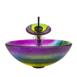 Polaris Sinks Oil-rubbed Bronze/ Rainbow Frosted Glass Vessel Sink and Faucet