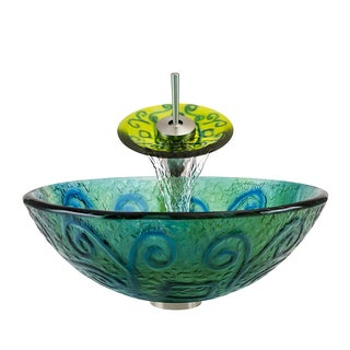 Polaris Sinks Brushed Nickel/ Frosted Blue-green Glass Vessel Sink and Faucet