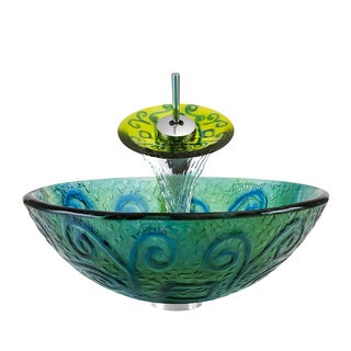 Polaris Sinks Chrome/ Frosted Blue-green Glass Vessel Sink and Faucet