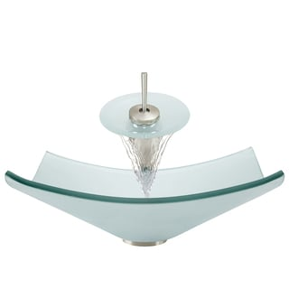 Polaris Sinks Brushed Nickel/ Frosted Glass Square Vessel Sink and Faucet