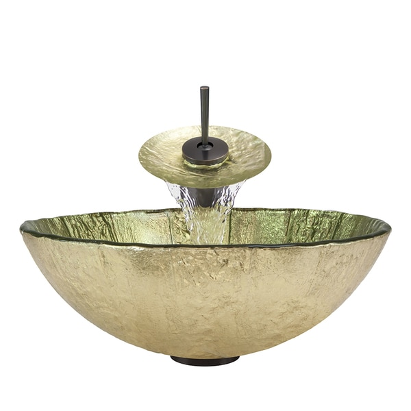 Polaris Sinks Oil-rubbed Bronze/ Gold Foil Glass Vessel Sink and ...