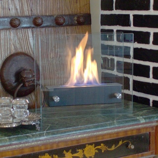 Nu-Flame Irradia Noir Tempered Glass Tabletop Bio-fireplace