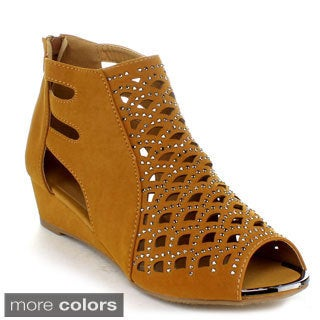 FOREVER FLAIR-09 Women's Peep Toe Wedges