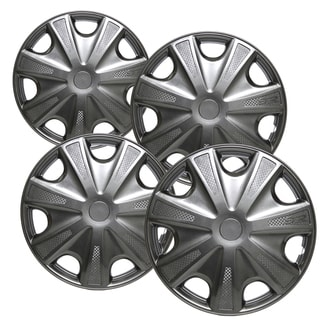 WCA 1033 15SPBK Design Hub Cap ABS Carbon Fiber 15-inch (Set of 4)