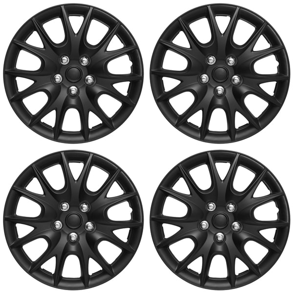WCA 950 15MBK Design Hub Cap ABS Black 15-inch (Set of 4)