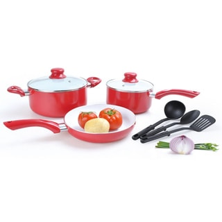 Alpine Cuisine 8-piece Aluminum Red Cookware Set