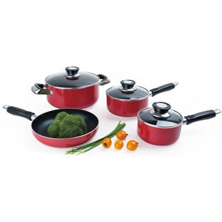 Alpine Cusine 7-piece Red Aluminum Cookware Set