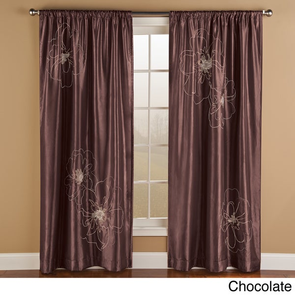 Cheryl Embroidered Faux Silk Curtain Panel Pair