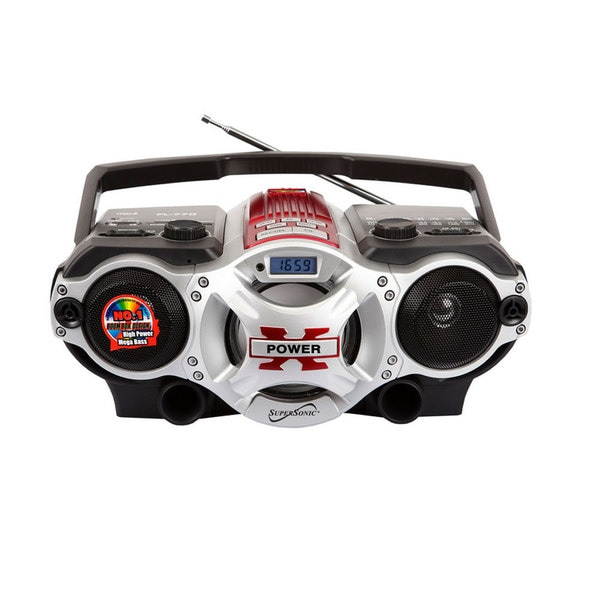 Supersonic SC-1395 Red Portable MP3 Speaker and Radio