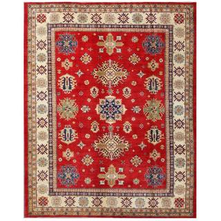 Herat Oriental Afghan Hand-knotted Kazak Red/ Ivory Wool Rug (9' x 11'4)