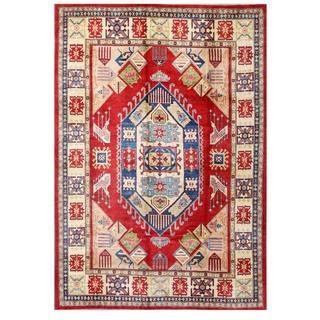 Herat Oriental Afghan Hand-knotted Kazak Red/ Beige Wool Rug (9' x 12'9)