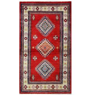Herat Oriental Afghan Hand-knotted Kazak Red/ Ivory Wool Rug (2'11 x 5'1)