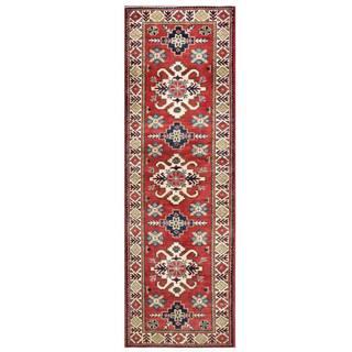 Herat Oriental Afghan Hand-knotted Kazak Maroon/ Ivory Wool Rug (3' x 9'8)