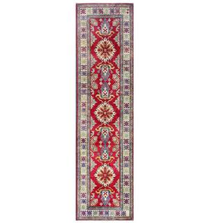 Herat Oriental Afghan Hand-knotted Kazak Red/ Ivory Wool Rug (2'8 x 10'1)