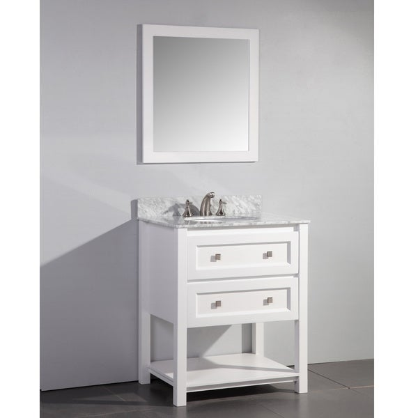 Marble Top 30 Inch Single Sink White Bathroom Vanity With Matching