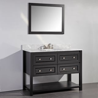 Marble Top 48-inch Single Sink Espresso Bathroom Vanity with Matching Framed Mirror