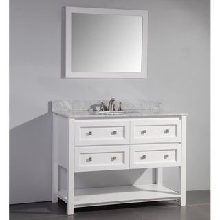 48inch Single Sink White Bathroom Vanity with Matching Framed Mirror