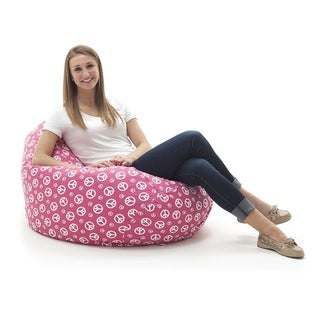 BeanSack Large Tear Drop Hot Pink Peace Sign Print Bean Bag Lounge Chair