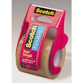 "3850 Heavy Duty Packaging Tape in Sure Start Dispenser, 1.88"" x 22.2 yds, Tan"