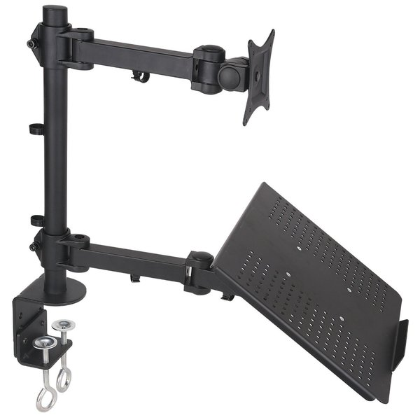 Mount-It! Single Laptop Notebook Desk Mount/Stand with Fully Adjustable Extension Arms and Clamp (Laptop + Monitor)