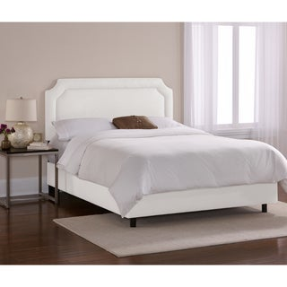 Skyline Furniture Notched Border Bed in Twill White