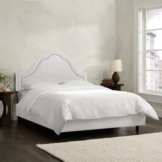 Skyline Furniture Arch Inset Nail Button Bed in Micro-Suede White