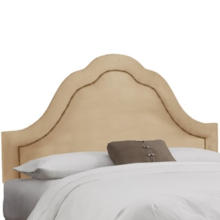 Skyline Furniture Inset Nail Button Headboard in Micro-Suede Oatmeal