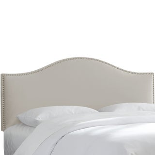 Made to Order Nail Button Light Grey Arched Headboard