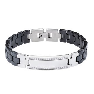 Stainless Steel and Ceramic 1/4ct TDW White Diamond ID-style Bracelet (H-I, I2-I3)